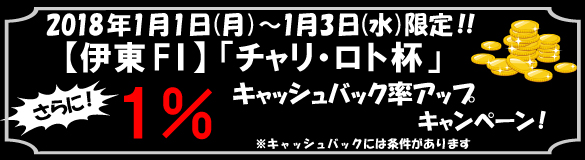 さらに1%キャッシュバック!【伊東F1】「チャリ・ロト杯」CB率アップキャンペーン!