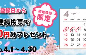 チャリカ新規入会から5日間連続投票でチャリカ3,000円分プレゼント!