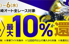 投票金額の10%還元!【川口・伊勢崎ナイター】オートレース投票キャンペーン