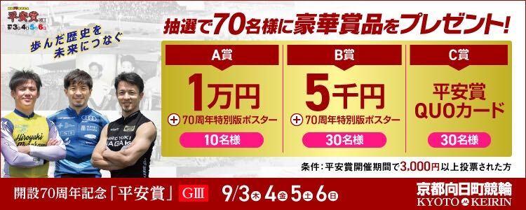 合計70名様に豪華賞品が当たる!京都向日町競輪【G3】「平安賞」投票キャンペーン