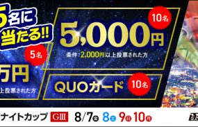 1万円が当たる!函館競輪【G3ナイター】「函館ミリオンナイトカップ」投票キャンペーン