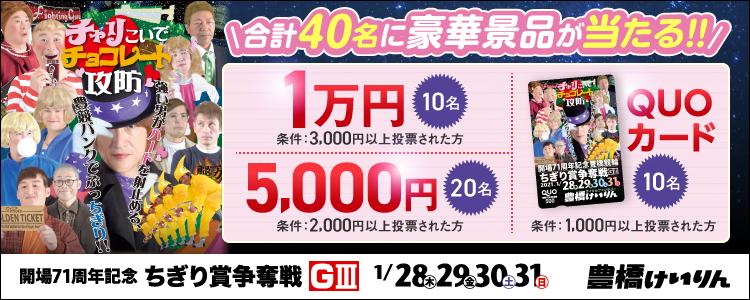 合計40名様に豪華景品が当たる!豊橋競輪【G3】「ちぎり賞争奪戦」投票キャンペーン