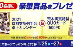 向日町競輪オリジナルグッズが当たる!F1「日本名輪会カップ第3回荒木実賞」投票キャンペーン