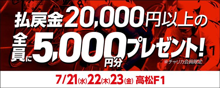 【高松競輪F1】払戻金額2万円以上で全員に5,000円分プレゼント!