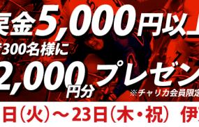 【伊東F1ナイター】トータル払戻金額5,000円以上達成で抽選300名様にチャリカ2,000円分プレゼント!